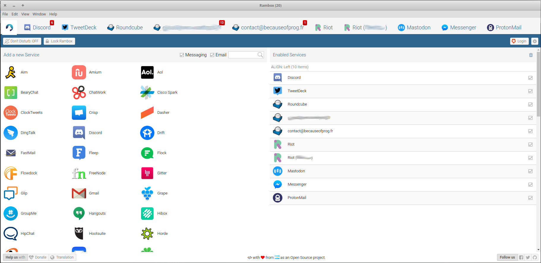 Screenshot de Rambox : Interface
